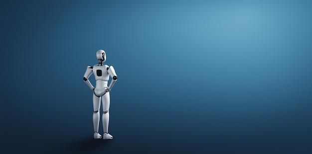 Staande mensachtige robot kijkt uit op schone achtergrond