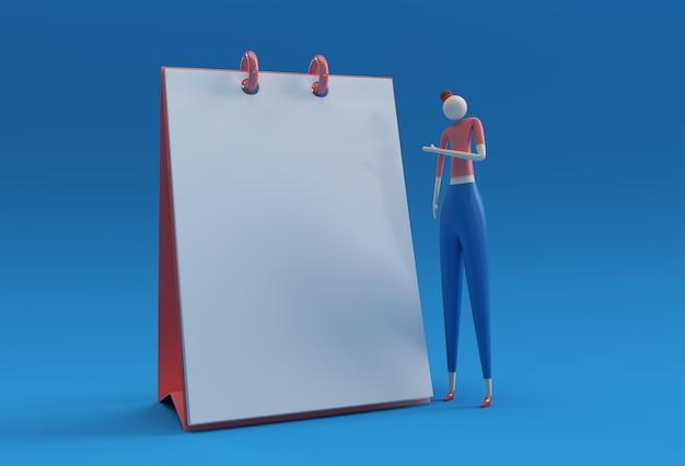 Staande vrouw wijzende vinger notitieblok mockup, 3d render design.
