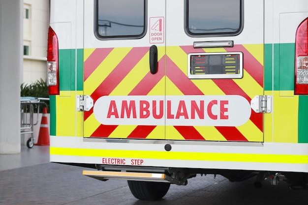 Staart einde van ambulance.