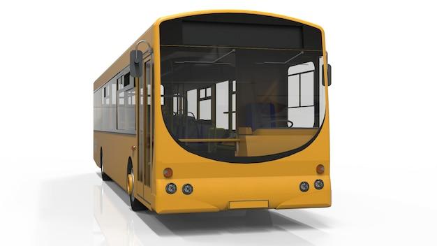 Stad gele bus sjabloon. passagier transport. 3d illustratie