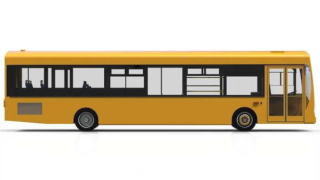 Stad gele bus sjabloon. passagier transport. 3d illustratie.