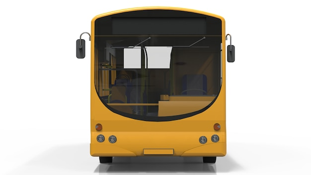 Stad gele bus sjabloon. passagier transport. 3d-weergave