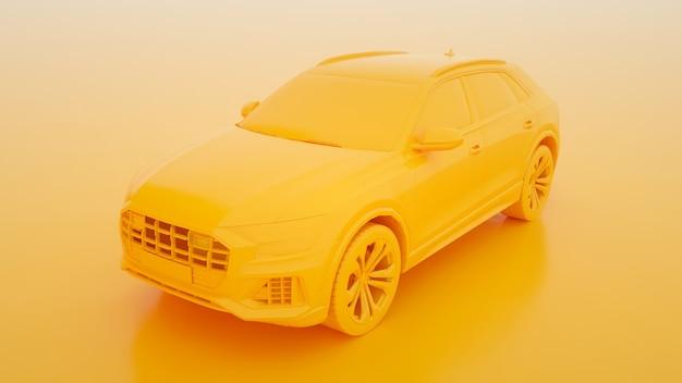 Stad gele premium suv op een gele 3d-rendering.