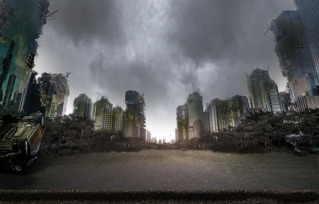 Stad verwoest door oorlog