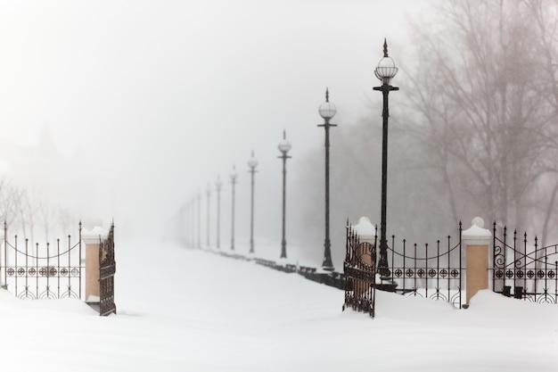 Stad, vorst, stilte, landschap, dijk in sneeuw, winter, sneeuwstorm, sneeuw