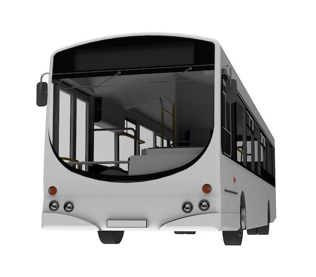 Stad witte bus sjabloon. passagier transport. 3d illustratie