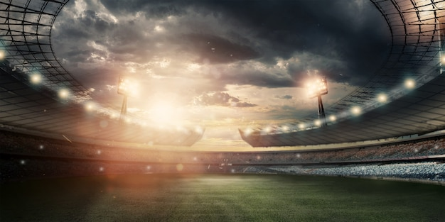 Stadion in lichten en flitsen, voetbalveld