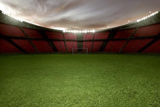 Stadionvoetbal met groen gras en lege tribune