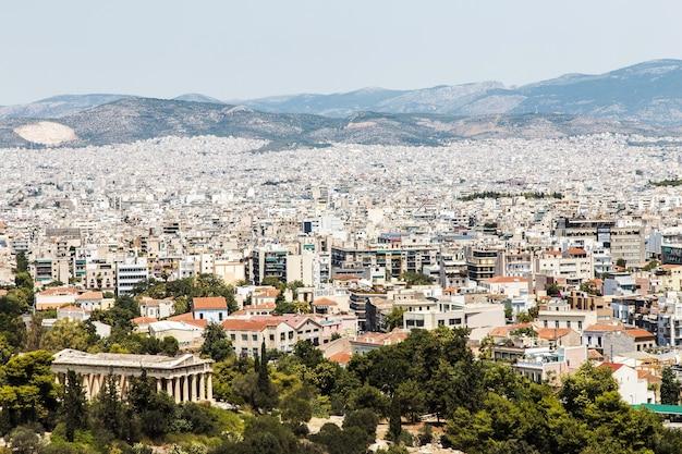 Stadsgezicht van moderne athene, hoofdstad van griekenland 2016 weergave van bovenaf