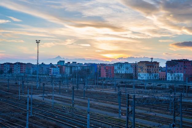 Stadsgezicht van spoorwegen