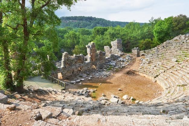 Stadsmuren in de ruïnes van troje, turkije.