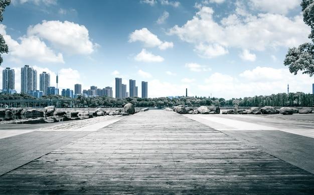 Stadspark onder blauwe hemel met downtown skyline op de achtergrond