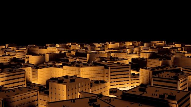 Stadssacpe in gouden hoogtepunten tilt shift. 3d-afbeelding