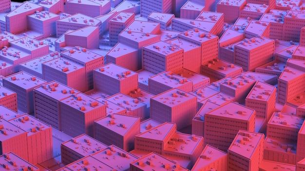 Stadssacpe in rode en blauwe highlights. 3d-afbeelding