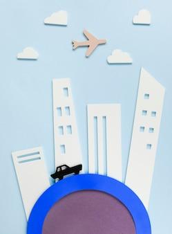 Stadsvervoerconcept met auto en vliegtuig