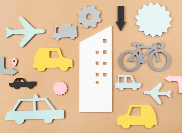 Stadsvervoerconcept met voertuigen