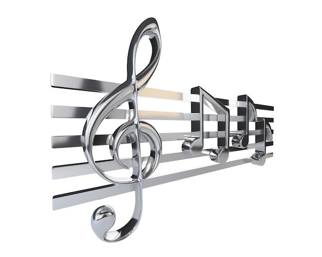 Stalen g sleutel en de notenbalk met een achtste noten