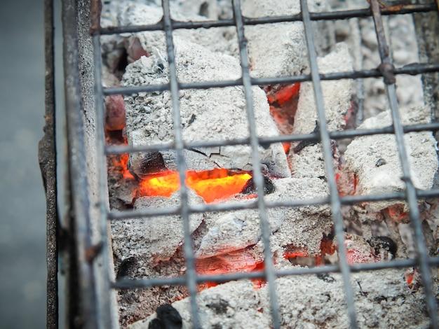 Stalen rooster voor het grillen van voedsel op hete houtskool,