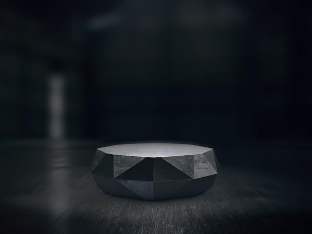 Stalen sokkelontwerp voor productshow met lichte vlekken op een donkere achtergrond