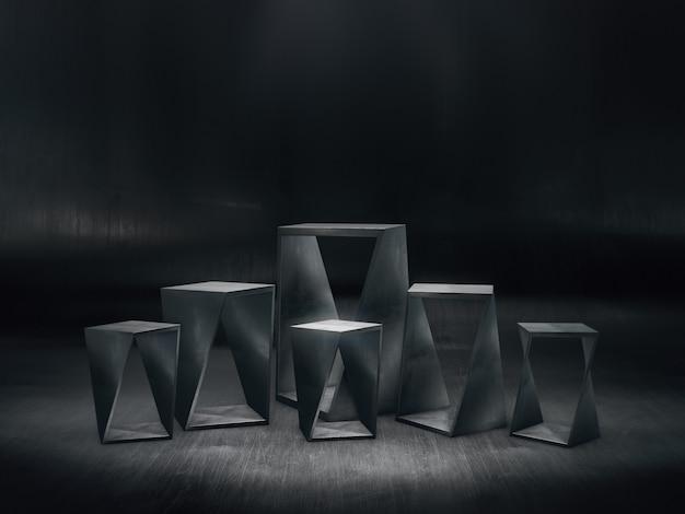 Stalen sokkels ontwerp voor productshow met lichte vlekken op donkere achtergrond