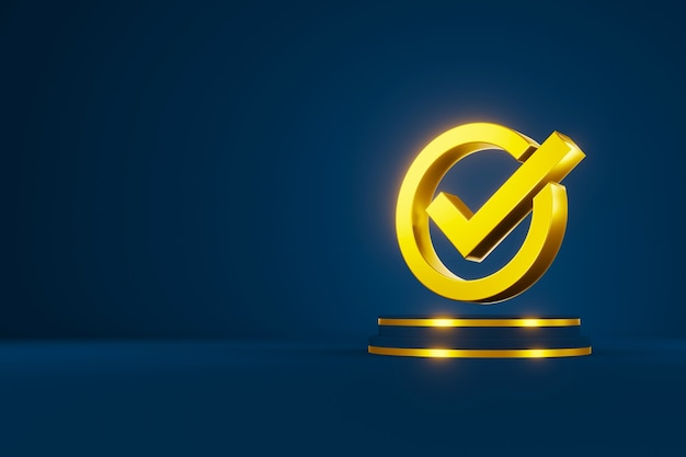 Standaard kwaliteitscontrole certificering assurance garantie. vinkje teken 3d en kopieer ruimte. 3d illustratie