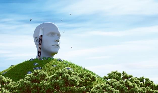 Standbeeld menselijk hoofd en ladder op een heuvel. surrealistisch begrip. 3d-rendering illustratie