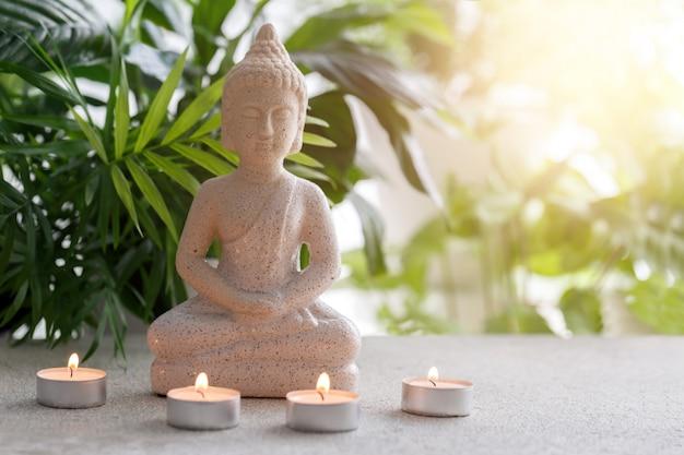 Standbeeld van boeddha zittend in meditatie