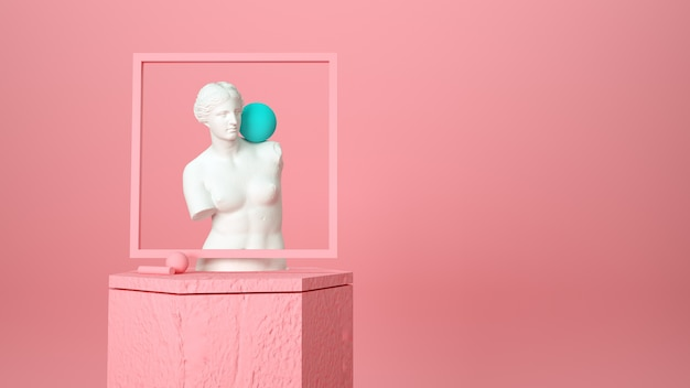 Standbeeld van een griekse vrouw op een roze achtergrond