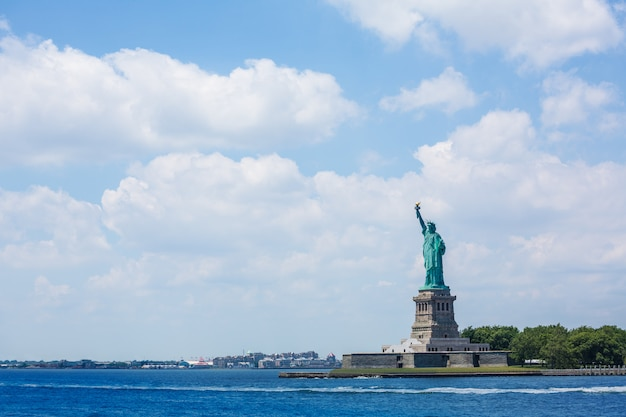 Standbeeld van vrijheid new york amerikaans symbool vs.