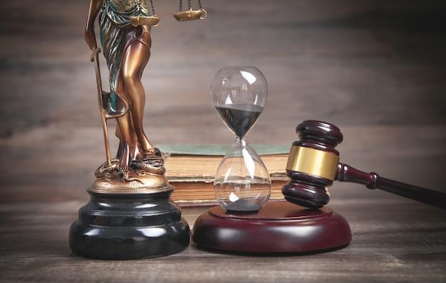 Standbeeld van vrouwe justitia, zandloper, boek en hamer.