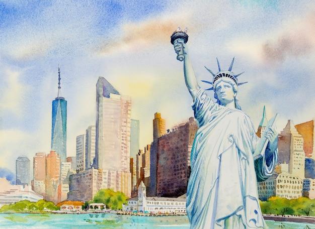 Standbeeldvrijheid in stedelijk manhattan. aquarel schilderij