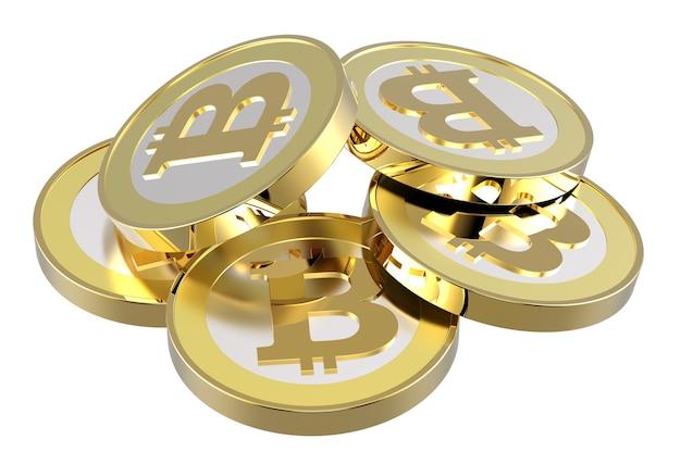 Stapel bitcoins geïsoleerd op wit.