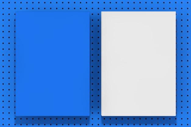 Stapel blauwe en witte lege mockup vellen op een blauwe kleine polka dot achtergrond extreme close-up. 3d-rendering