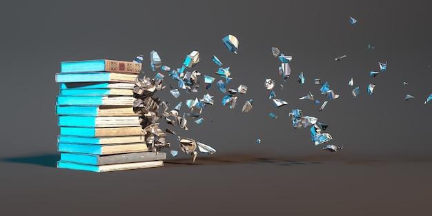 Stapel boeken op een zwarte achtergrond die in kleine onderdelen instort