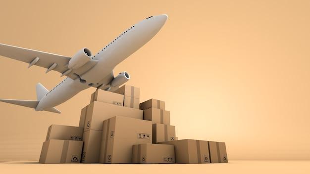 Stapel bruine doos verpakking en vliegtuig