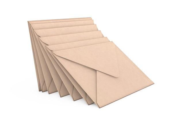 Stapel bruine lege envelop op een witte achtergrond. 3d-rendering