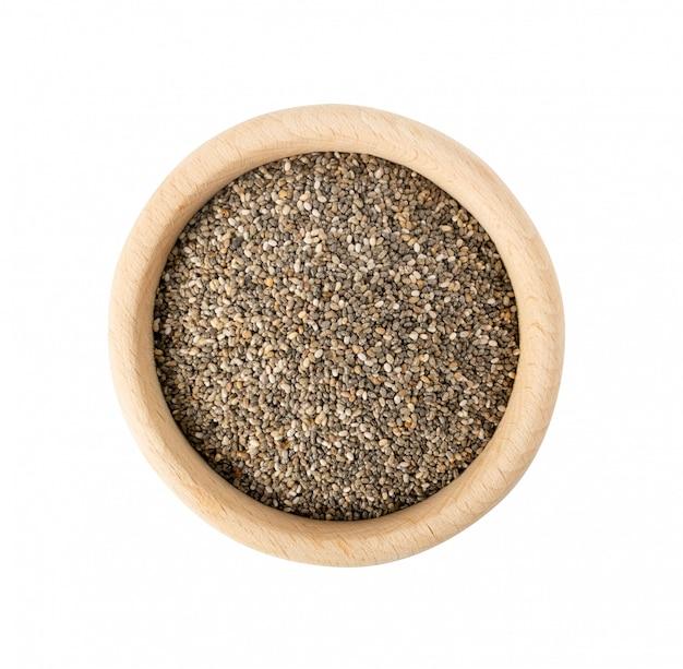 Stapel chia zaden geïsoleerd op een witte achtergrond. salvia hispanica ook wel bekend als superfood of super food top view