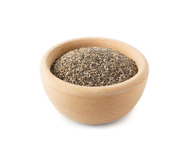 Stapel chia zaden geïsoleerd op een witte achtergrond. salvia hispanica ook wel bekend als superfood of super food