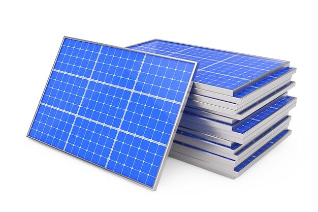 Stapel fotovoltaïsche zonnepanelen op een witte achtergrond. 3d-rendering