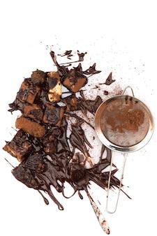 Stapel gebroken chocolade