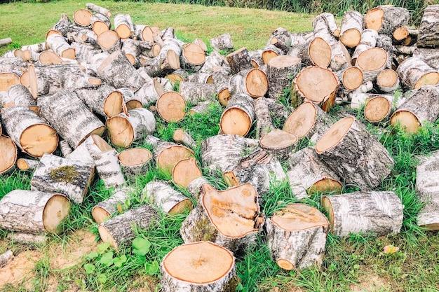 Stapel gehakte brandhout berk buiten.