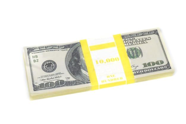Stapel geld contant geld van geïsoleerde dollars