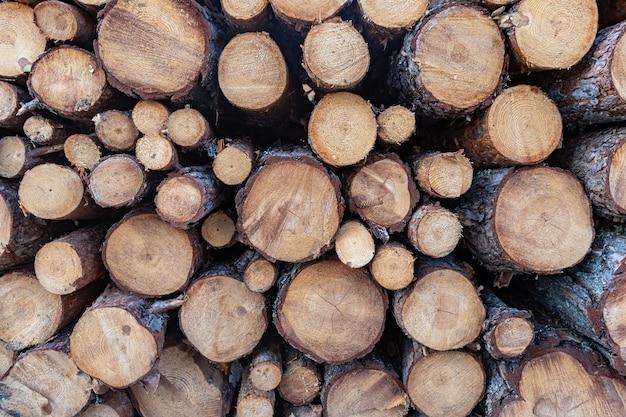 Stapel gewinkeld hout, een goede natuurmuur