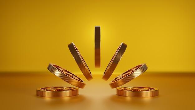 Stapel gouden munten, bankwezen bedrijfsconcept. 3d render. Premium Foto