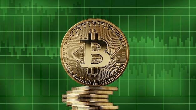Stapel gouden munten bitcoin op een groene markt grafieken achtergrond. cryptocurrency en blockchain-handelsconcept. groei van de crypto-valuta, kan worden gebruikt voor video- of sitedekking of goed nieuws