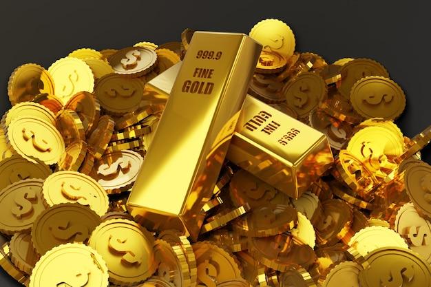 Stapel gouden munten en gouden staven