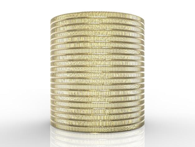 Stapel gouden munten op witte achtergrond