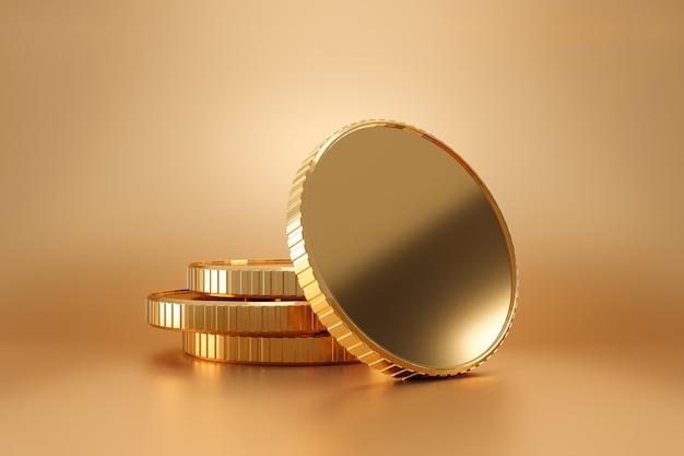 Stapel gouden muntstukken op rijke muur met het verdienen van winstconcept. gouden munten of valuta van het bedrijfsleven. 3d-weergave.