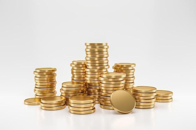 Stapel gouden muntstukken op witte muur met het verdienen van winstconcept. gouden munten of valuta van het bedrijfsleven. 3d-weergave.