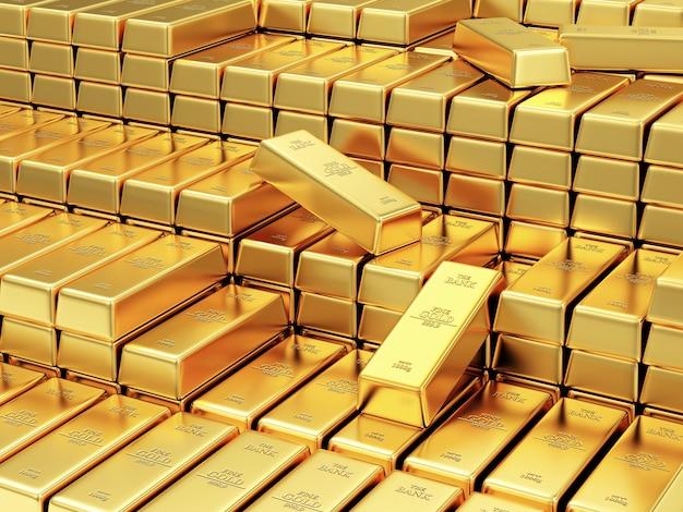 Stapel gouden staven in de bankkluis